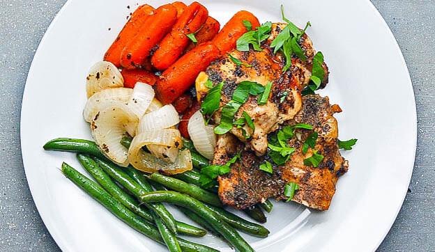 Makkelijke kalkoen met boontjes en worteltjes